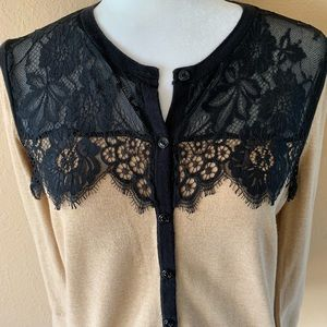 NWOT Ann Taylor LOFT Tan Cardigan With Black Lace
